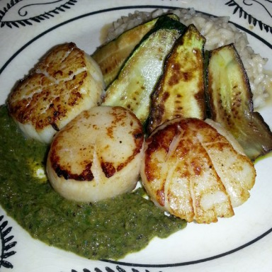 Taste Lab - scallops with poblano pesto