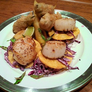 Scallop tacos with fried avocado