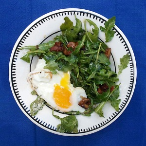 Arugula salad with soft cooked egg