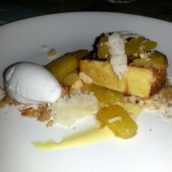 Their version of pineapple upside down cake at Sweet Basil
