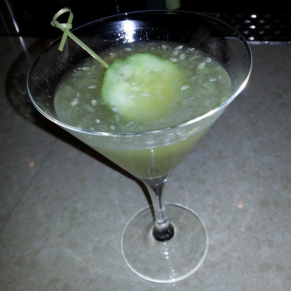 Hendricks with muddled cucumber from Sweet Basil