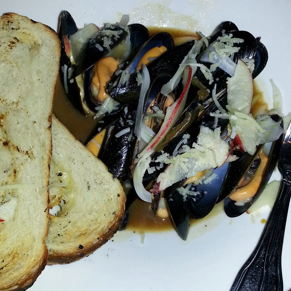 Muscles in french onion soup at Linger