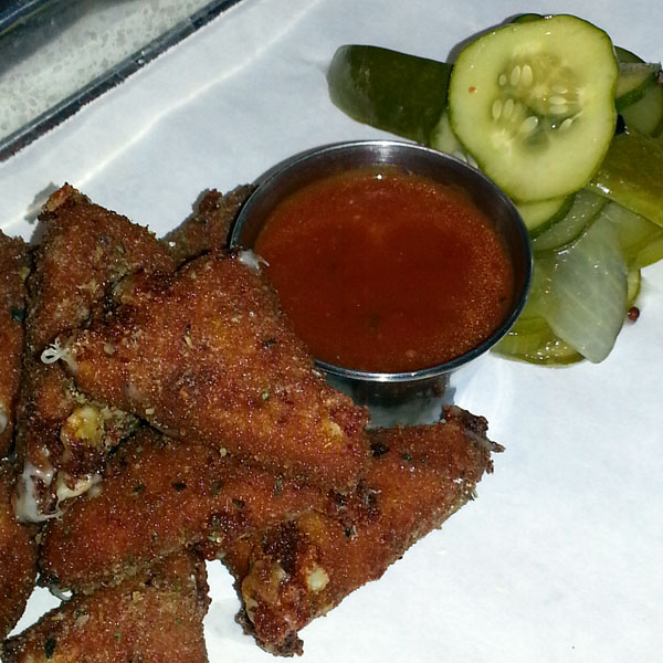 Fried mozzarella and house-made pickles at Umami Mia