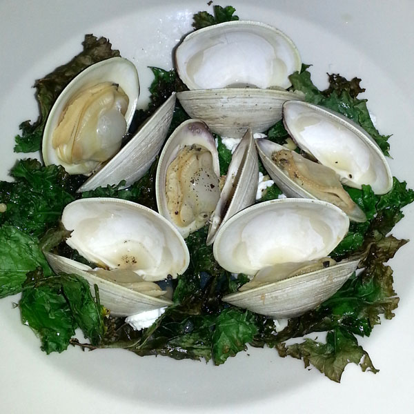 Steamed clams with crispy kale from The Burning Tree