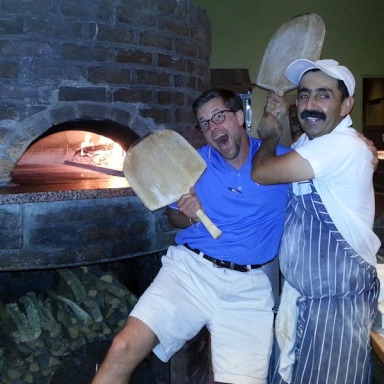 Pizza Bianco - dancing with chef