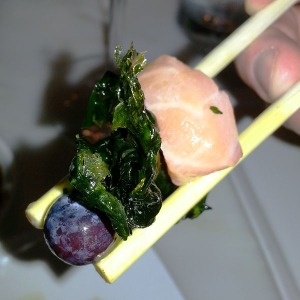 A bite of Yokai Berry dish from Uchiko