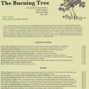 Menu from The Burning Tree