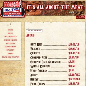 Portion of the menu from Cooper's Old Time Pit Barbeque