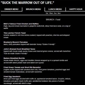 Brunch menu for Max's Wine Dive