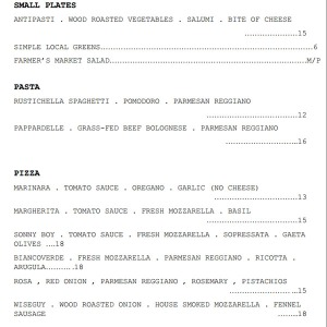 Menu from Pizzeria Bianco