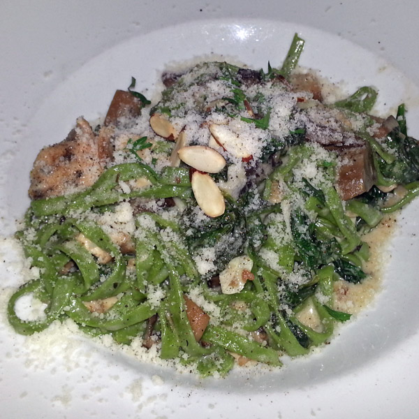 House-made spinach linguini with chicken and mushrooms from Zelo in Minneapolis