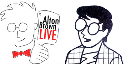 Are these guys related? Alton Brown logo and Scott McCloud; images courtesy of altonbrown.com and Understanding Comics by Scott McCloud