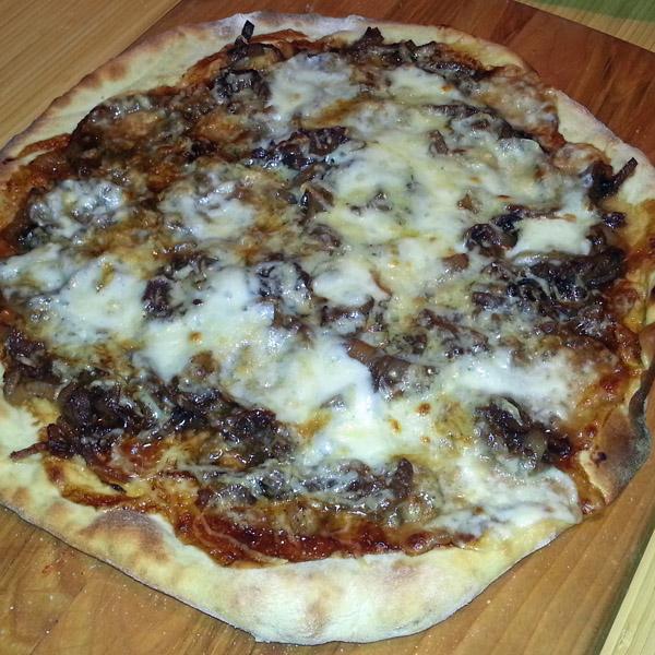 Onion soup as a pizza