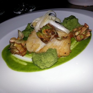 Goodall's - Pan Seared Halibut, Crispy Baby Artichokes, Lemon Olive Brioche, Pickled Spring Onions, Parsley Jus