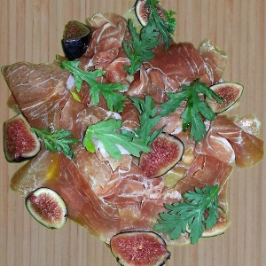 Prosciutto & fig on bamboo counter top