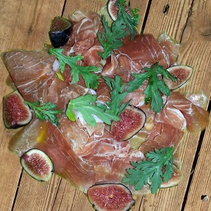 Prosciutto & fig on wood decking