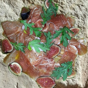 Prosciutto & fig on limestone