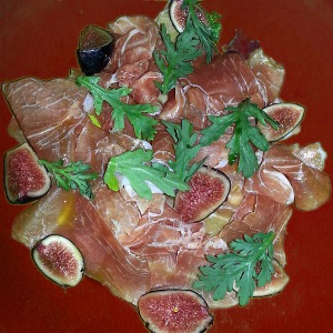 Prosciutto & fig on ruby plate