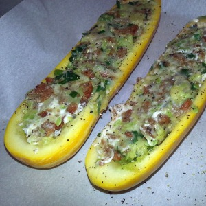 stuffed zucchini before the oven