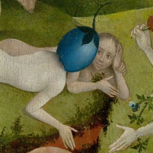 Man with a plum head (detail from The Garden of Earthly Delights)