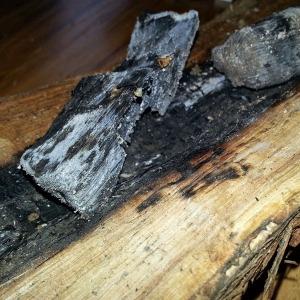 White oak smoldering tableside
