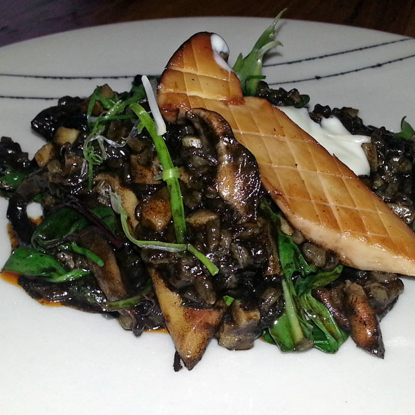 Black rice with trumpet mushroom at Qui