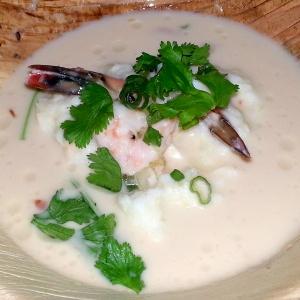 Dinner Lab with Ek Timrek - Tom Kah Shrimp & Grits : gulf shrimp & country ham | stone ground grits | mint-basil-cilantro