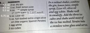 Oliveto recipe from Hemispheresmagazine.com (with my comments)