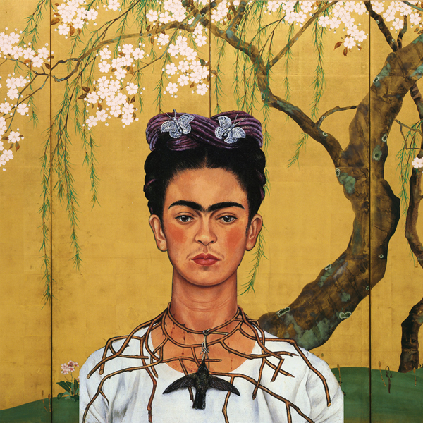 Frida's self portrait with hummingbird on Japanese panel