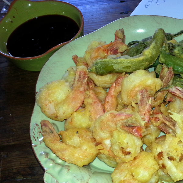 Tempura of Mexican vegetables, shrimp with a chipolte soy dipping sauce