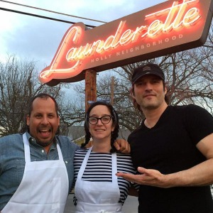 Chef's Rene Ortiz and Laura Sawicki with Robert Rodriguez (photo courtesy of freshstartnews.com)