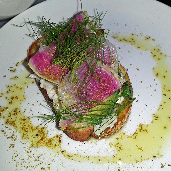 Crab, avocado, radish toast from Laundrette